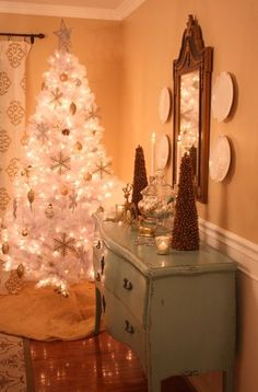My white Christmas tree in the dining room.