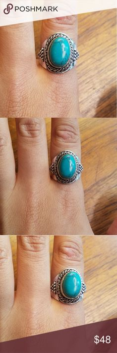 NWOT Sterling Silver Turquoise Ring Stunning 925 Sterling Silver and Turquoise Ring. Size 8.5.   *Please know your ring size BEFORE ordering All rings are pictured on a US ring sizer. Returns will not be accepted due to size issues. Jewelry Rings