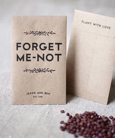 isn't this the cutest party favor ever? small paper bags filled with seeds from your favourite flower. that way the guest can take a memory home that will grow and remind them for a very long time..