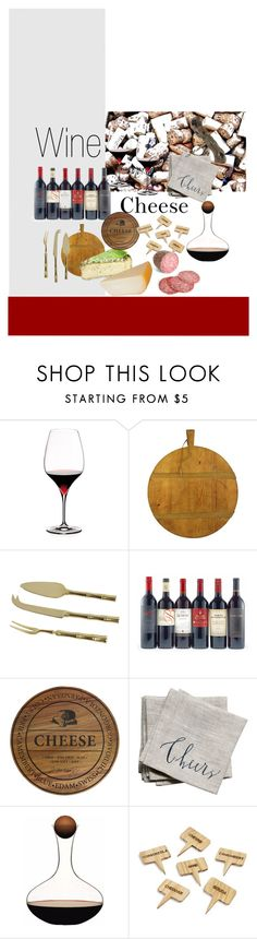 """Wine and Cheese"" by cknott on Polyvore featuring interior, interiors, interior design, home, home decor, interior decorating, Riedel, Linea Carta and Sur La Table"