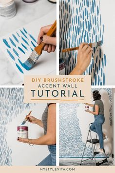 DIY Brushstroke Accent Wall Tutorial - - Rachael initially suggested a wallpaper for this wall. Instead, I decided to mimic the wallpaper and do a DIY brushstroke accent wall. Easy and fun to do.