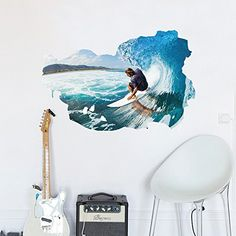 Boodecal 3d Surfing Men Decals Sticker Interior Wallpaper Room Decor Housewares Mural Graphic Bedroom Wall Decal 23x35 Inches -- See this great product. (Note:Amazon affiliate link)