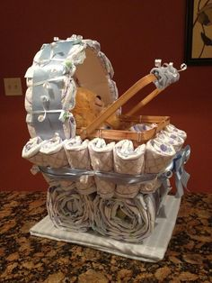 47af552c09a Boy Diaper Carriage - Unique Baby Shower Gift
