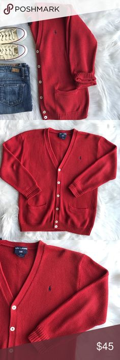 "Vintage Ralph Lauren Varsity Boyfriend Cardigan This vintage Ralph Lauren Polo Sport Cardigan is in excellent used condition. Very versatile! Looks great with a pair of boyfriend jeans, open toe booties, and a white v-neck! 100% cotton, size medium, dry clean only. Length - 28"", bust - 27"". This is a looser fitting boyfriend style Cardigan. The color is a rusty red, has an orange undertone. (Not maroon). Ralph Lauren Sweaters Cardigans"