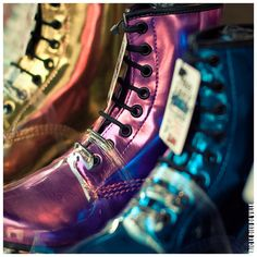 Some crazy colourful Dr. Martens in a shop of Harajuku district in Tokyo Dr Martins, Dress Up Outfits, Combat Boots, Harajuku, My Photos, Shoe Boots, Rainbow, Fancy, My Style
