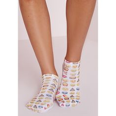 Missguided Emoji Socks ($8.50) ❤ liked on Polyvore featuring intimates, hosiery, socks, yellow and yellow socks