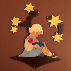 1940s HELLERKUNST Little Doll Mother Girl under Star Tree #germanwallfigures | eBay!