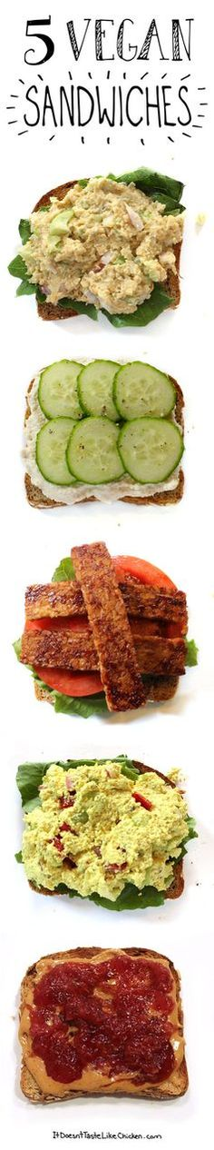 5 Vegan Sandwiches!!! One for every day of the work or school week.  [The tempeh lettuce tomato one is pretty good, I added cheese and toasted the whole thing.]