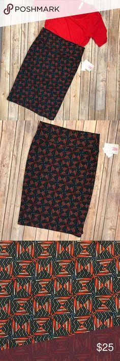 Medium LuLaRoe Cassie Pencil Skirt Black, blue and red patterned pencil skirt. Fits sizes 10-12! LuLaRoe Skirts Pencil