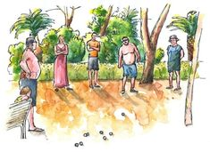 May 13, 2018. Sketches from summer VII: Playing Petanque on vacation. Watercolor, ink. I was testing new Umton watercolor set. #sketch #watercolor #painting #urbansketchers #petanque #vacation #summer