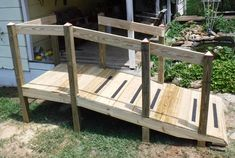 How To Build a Handicap Ramp When you are Not a Carpenter Pallet Patio Decks, Diy Deck, Building Design Plan, Building A Deck, Building Plans, Porch With Ramp, Ramp Stairs, Handicap Ramps, Ramp Design