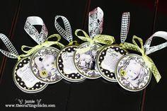 DIY photo ornaments using modge podge, photos, metal tops and ribbon.