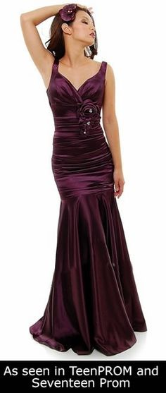 Eggplant Mermaid Bridesmaid Dress Plus Size Pleated Wide Strap Floral $87.99