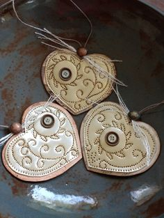 Punch Tin Heart Ornaments Set of 3 by PeggyRedmon on Etsy, $24.00