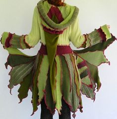 fReSh LeTTuCe - Short Faerie elf pixy coat - Made with recycled sweaters