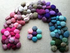 Hexipuffs from Crafts from the Cwtch (working on Tiny Owl Knits' Beekeeper's Quilt)