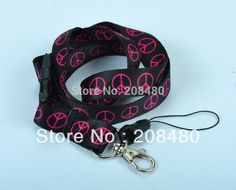 """Cheap lanyard necklace, Buy Quality lanyard swivel hook directly from China lanyard china Suppliers: """"PINK PEACE Black""""LANYARDKEYCHAINCELL PHONE / I.D. HOLDERLength 20.5 inchWidth 18 mm The&n Lanyard Necklace, Lanyard Keychain, Washer Necklace, Key Hooks, Id Badge Holders, Jewelry Accessories, Personalized Items, Pink, Peace"""