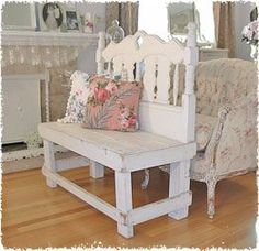 """I did a """"headboard"""" bench several years ago and it was easy and turned out cute.  love this one!"""