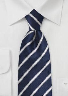 Krawatte dunkelblau Streifendesign