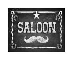 Western Themed Wedding Bar sign  SALOON  Rustic by PSPrintables, $5.00