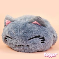 Furry Nemuneko Plush - Big / Gray - Nemuneko - Plush Toys - Other Products | Blippo.com - Japan & Kawaii Shop