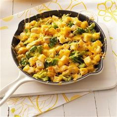 Chicken Cheese Strata Recipe -The spices in this simple strata with chicken, broccoli and cheese offer an extra-special taste. —Taste of Home Test Kitchen