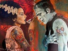 A good Halloween tattoo idea.I love the Bride of Frankenstein in this picture! Monster Art, Monster Squad, Arte Horror, Horror Art, Horror Pics, Scary Movies, Horror Movies, Mike Bell, Dark Romance