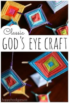 Kids can make this classic God's Eye craft with scraps of colourful yarn and 2 sticks. Great activity for strengthening fine motor skills and co-ordination! - Happy Hooligans