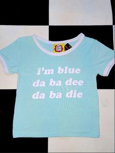 IM BLUE DA BAAA DEEEEEE DA BAAA DIEEE!  Cotton spandex blend Round neck cropped ringer tee All over stretch