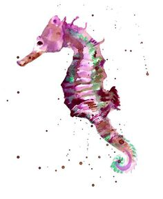 I really enjoyed the color pallet in this seahorse.  The purples, blues and greens work well together.  I also like the graphic/illustration feel to this piece with the splattering of paint.