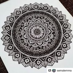 1001 Mandalas : This mandala design is extremetly detailed ! Certainly one of my favorite. IN SHORT I LIKE : The contrast between B&W / The incredible amount of details / The mandala patterns / And its complexity Ant Drawing, Doodle Art Drawing, Mandalas Drawing, Zentangle Drawings, Drawing Ideas, Mandala Doodle, Mandala Art Lesson, Mandala Artwork, Mandala Painting