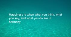 Happiness is when what you think, what you say, and what you do are in harmony What You Think, Thinking Of You, Meant To Be, Happiness, Thoughts, Sayings, Words, Happy, Quotes