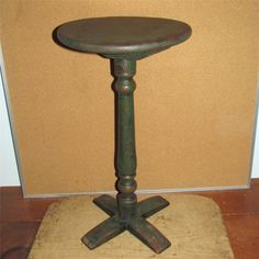 18th c. X base candle stand in grungy green paint.  google.com