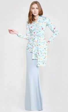 Bruna Modern Two-Piece Kurung in Soft Blue Print and Icy Blue Skirt