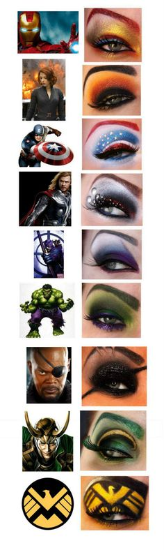 Avengers Eye Makeup. (Bigger photos through link). I would actually wear Black Widow and Hulk just for fun... but the Cap' is my favorite.