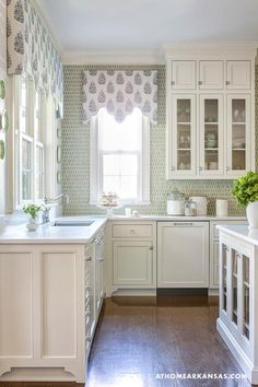 At Home in Arkansas - kitchens - Scalloped window treatments, blue window treatments, white kitchen cabinets, glass front kitchen cabinet do...