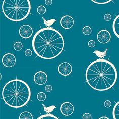 Birch Organic Fabric, Modern Basics in Teal Birdie Spokes, One Yard. $14.50, via Etsy. 5.00 shipping
