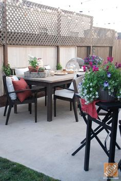 The lattice at the top of the fence helps add some privacy to this backyard with a close neighbor.
