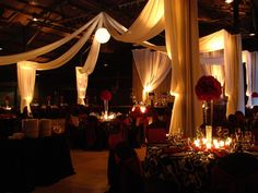 Centerpieces, candles, flowers by Creations by Debbie & Events Plus, Inc. from Nashville wedding at The Factory