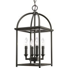 Features:  -Simple vertical structure with open arching roof and center inspired by classic shaker design.  -Four-light foyer lantern with soaring arches and candle chaser accents.  Product Type: -Foy