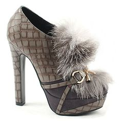 [SHOESONE.BIZ] 2168  Rabbit Fur Buckle Snakeskin Pattern Booties (13.5cm)-LIMITED EDITION