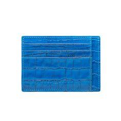 LEATHER CREDIT CARD HOLDER BILL / CROCO OCEAN BLUE GOLDBLACK Premium Accessories