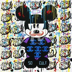 MICKEY MOUSTACHE - Peinture,  100x100 cm ©2014 par DAVID KARSENTY -                                                                        Pop Art, Toile, Culture populaire / célébrité, Célébrité, pop-art, pop, so cult, david karsenty, art, art-contemporain, art-contemporain urbain, pop-culture, street-culture