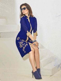 Fetching blue georgette sequins work casual wear tunic. Having fabric georgette and santoon. The enticing embroidery work and sequins work a intensive attribute of this tunic #mydesiwear #onlineshop #tunics #womenstyle #womenfashion #festivewear #partywear #fashion #ethnicwear #ceremonywear #weddingfashion #weddingseason #indianwedding #weddingbeauty #weddingsuits #georgette #weddingfestival #WeddingTrends #stylewedding #designertunics