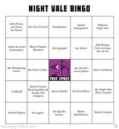 Nightvale Bingo Made by tumbler user leeshajoy