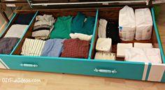 Une étagère sur roulettes à glisser sous le lit !