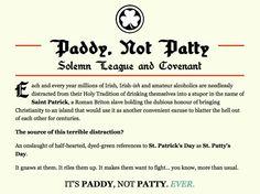 Paddy not Patty
