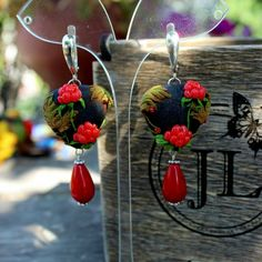 Raspberry earrings, Sterling earrings with natural Stone beads, polymer clay earrings