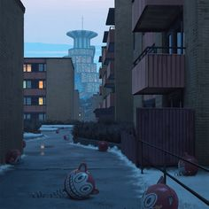 "simonstalenhag: "" Remembering The Vertical Cities Of Västerort Top picture: Hägerstalund, Eggeby and Berggården, as seen from Barkarby flygfält looking south. Center left: The Krafta mascot balloons..."