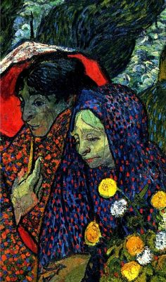 """Ladies of Arles (Memories of the Garden at Etten), 1888 Vincent van Gogh Detail . Description from the Hermitage: """"This is one of four canvases in the Hermitage which date from the last two years of..."""